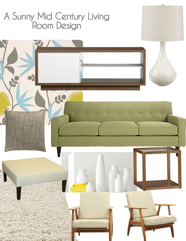 A Sunny Mid Century Living Room Design