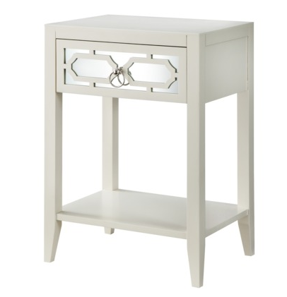 Target white mirrored drawer accent table the suburban for White nightstand table