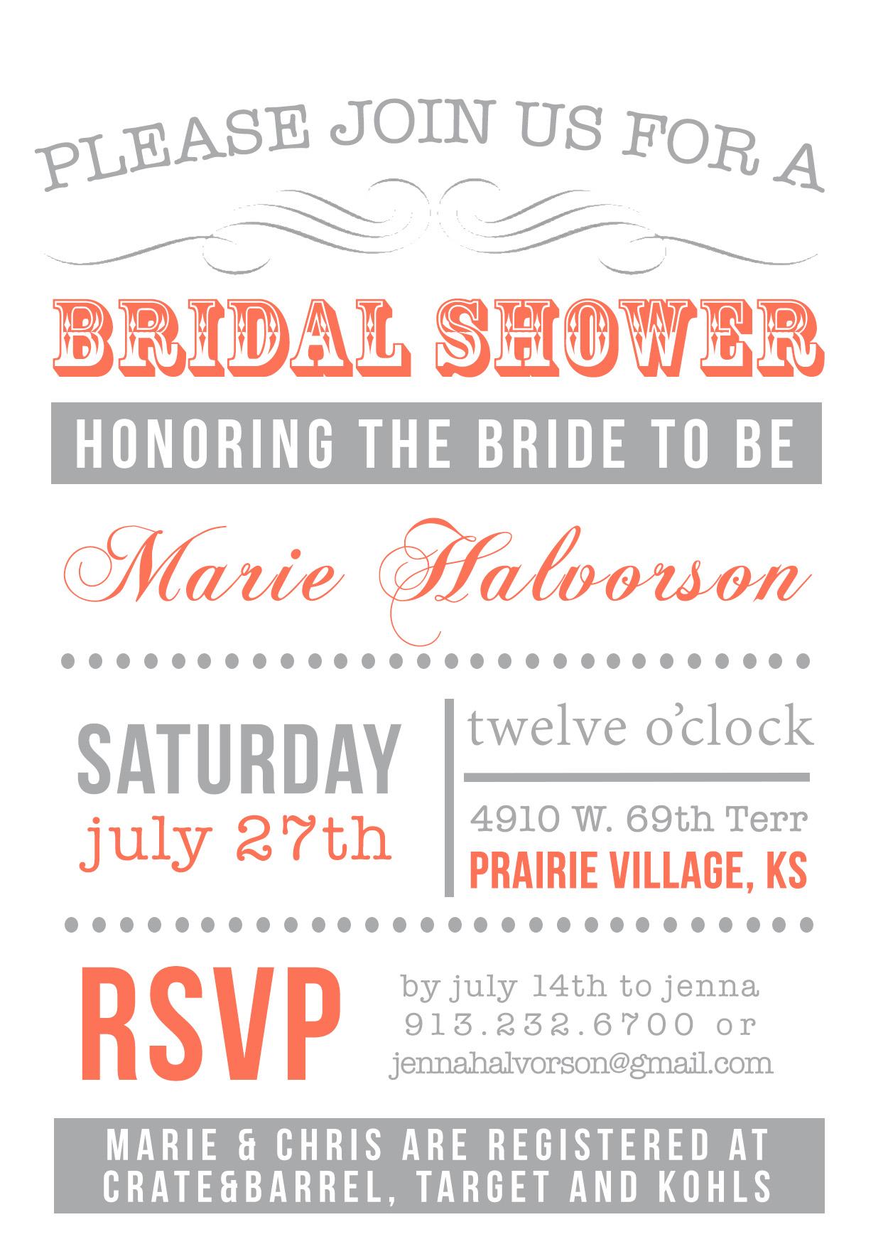 marie shower invite